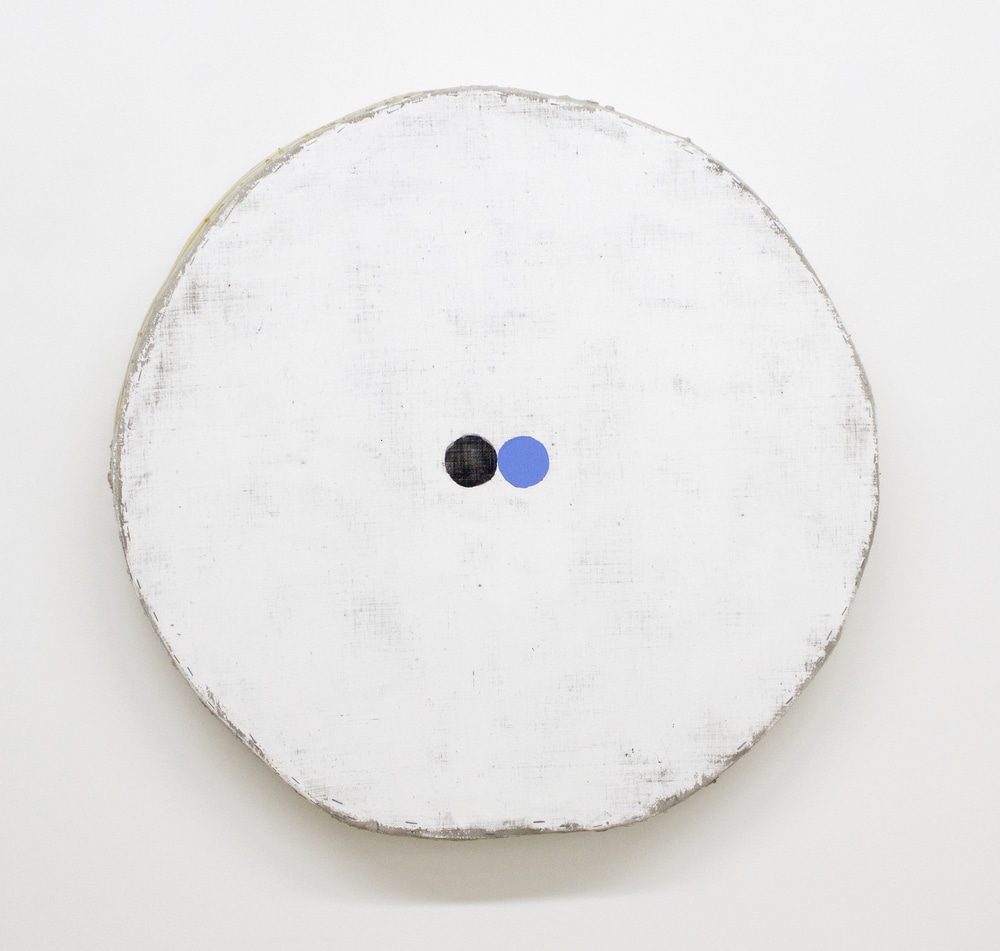 Jones  otis  white with blue and black circles  33.5 x 34.5 x 3.5%22  acrylic on canvas on wood  2017